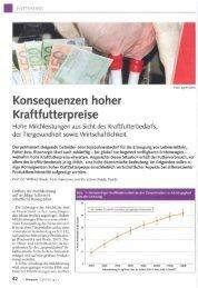 Konsequenzen hoher Kraftfutterpreise - Swissmilk