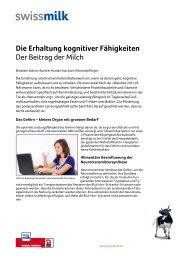 Die Erhaltung kognitiver Fähigkeiten. Der Beitrag der Milch - Swissmilk