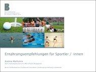 Ernährungsempfehlungen für Sportlerinnen und Sportler ... - Swissmilk
