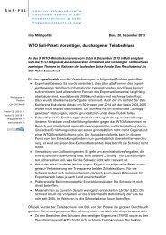 WTO Bali-Paket: Vorzeitiger, durchzogener Teilabschluss - Swissmilk