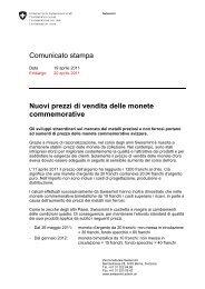 Comunicato stampa Nuovi prezzi di vendita delle ... - Swissmint