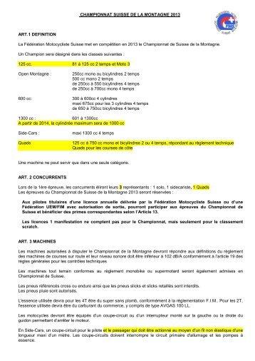 CHAMPIONNAT SUISSE DE LA MONTAGNE 2013 ART.1 ... - FMS