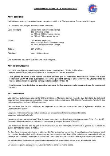 CHAMPIONNAT SUISSE DE LA MONTAGNE 2012 ART.1 ... - FMS