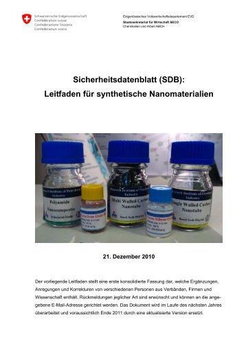 Sicherheitsdatenblatt (SDB): Leitfaden für ... - Arbeitsinspektion