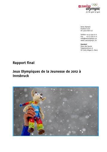 Rapport final Jeux Olympiques de la Jeunesse de ... - Swiss Olympic
