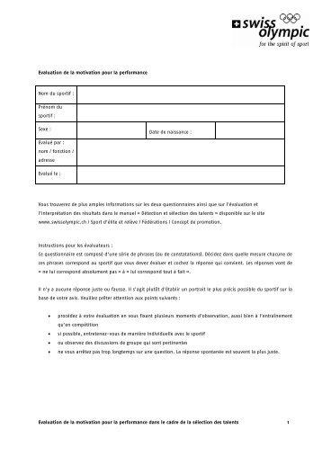 Evaluation de la motivation pour la performance ... - Swiss Olympic