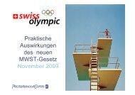 Praktische Auswirkungen des neuen MWST-Gesetz ... - Swiss Olympic