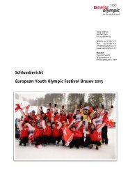 Schlussbericht European Youth Olympic Festival ... - Swiss Olympic