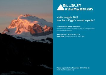 allalin insights 2012 How far is Egypt's second republic? - Swisspeace