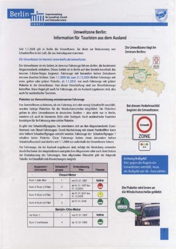 Umweltzone Berlin: Information für Touristen aus dem Ausland