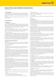 General Terms and Conditions Postal Services - Swiss Post