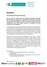Neue Führung bei Swiss Recycling
