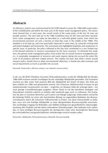 Nachhaltige Rohstoffnutzung und Abfallentsorgung - BAFU