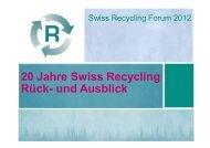 20 Jahre Swiss Recycling Rück- und Ausblick