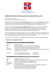 Selektionsverfahren für den Coupe de la Jeunesse 2013 in Luzern