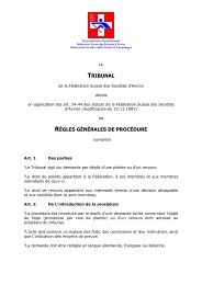 tribunal règles générales de procédure - Schweizerischer ...