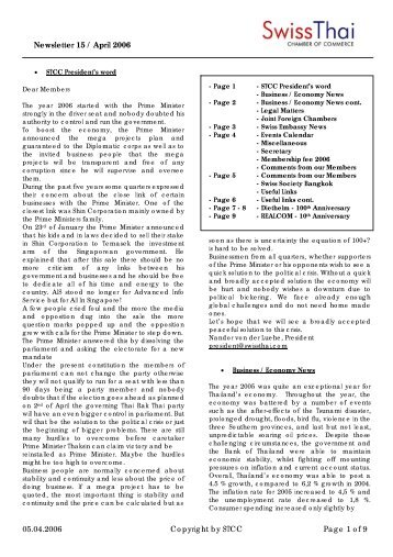 Newsletter 15 / April 2006 - SwissThai Chamber of Commerce
