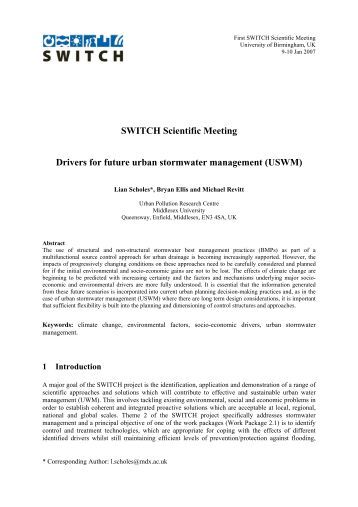 Drivers for future USWM - SWITCH - Managing Water for the City of ...