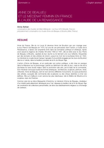 Anne de Beaujeu et le mécénat féminin en France - Centre des ...