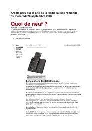 Article parue sur le site de la Radio suisse romande du ... - Switel.com