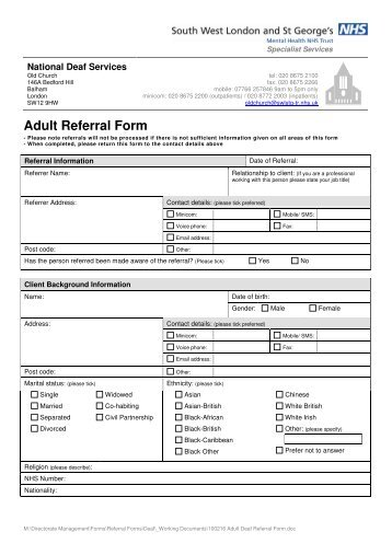 Adult deaf services referral form - South West London and St ..