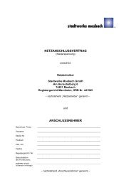 netzanschlussvertrag anschlussnehmer - Stadtwerke Mosbach