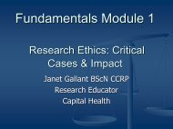 Fundamentals Module 1 Research Ethics: Critical ... - nshealth.ca