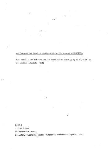 DE INVLOED VAN DEFECTE SCHOKDEMPERS OP DE ... - SWOV
