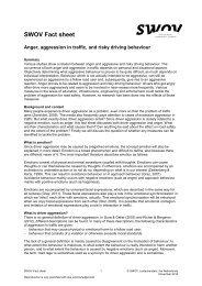 Fact sheet Negative emotions and aggression in traffic - SWOV