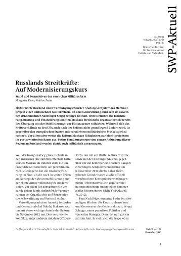 Russlands Streitkräfte: Auf Modernisierungskurs. Stand und ... - SWP
