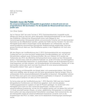 Handeln muss die Politik - Stiftung Wissenschaft und Politik