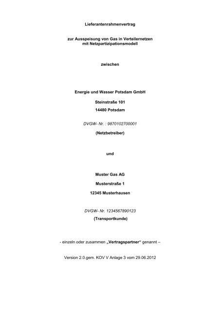 Muster Rahmenvertrag für die Belieferung von Kunden des ...