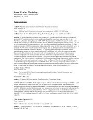 2013 Poster Abstracts - Space Environment Center - NOAA