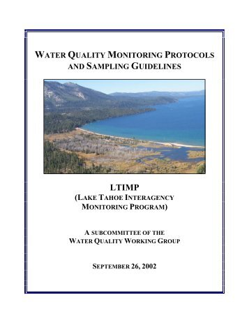 water quality monitoring protocols and sampling guidelines