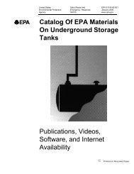 Catalog Of EPA Materials On Underground Storage Tanks