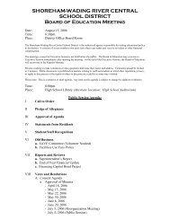 SHOREHAM-WADING RIVER CENTRAL SCHOOL DISTRICT Board ...