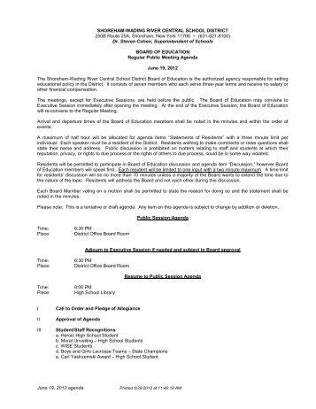 June 19, 2012 agenda SHOREHAM-WADING RIVER CENTRAL ...