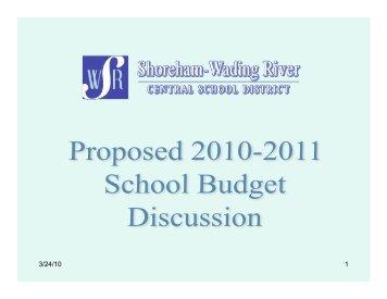 Proposed 2010-2011 School Budget Presentation, March 24, 2010