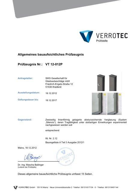 VT 12-012P - SWS Gesellschaft für Glasbaubeschläge mbH