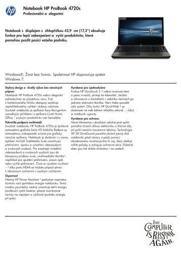 Datasheet HP Probook 4720s - SWS a.s.