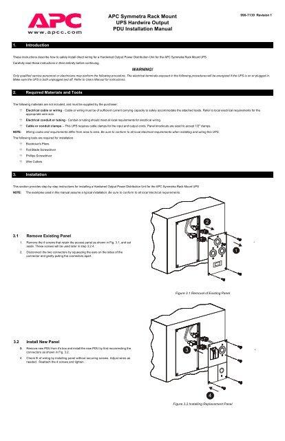 APC Symmetra Rack Mount UPS Hardwire Output ... - APC Media on