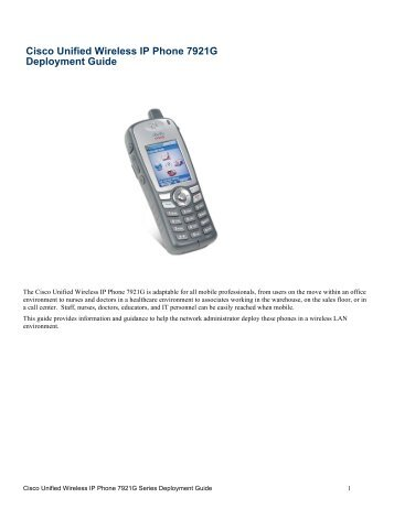 Cisco unified wireless ip phone 7925g deployment guide sws a. S.