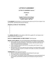 SAMPLE LETTER OF AGREEMENT - Creative Trust