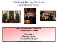 Project Management Presentation Tafelmusik - Creative Trust