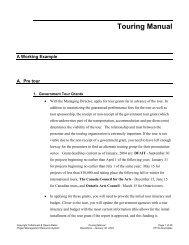 Touring Manual 2005 Tafelmusik - Creative Trust