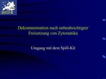Dekontamination nach unbeabsichtigter Freisetzung von Zytostatika
