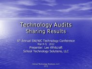 Technology Audits - Sharing Results