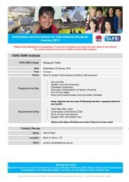 Orientation and Enrolment for International Students ... - TAFE NSW