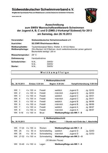Ausschreibung - Südwestdeutscher Schwimmverband