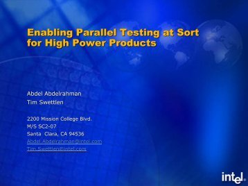 Enabling Parallel Testing at Sort for High Power Products